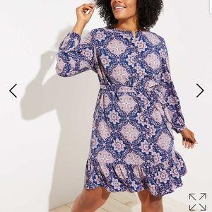 Loft Tile Flounce Dress
